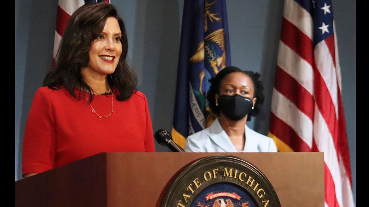 In this photo September 16, 2020 file photo, provided by the Michigan Office of the Governor, Gov. Whitmer addresses the state during a speech in Lansing, Mich. (Michigan Office of the Governor via AP, File)
