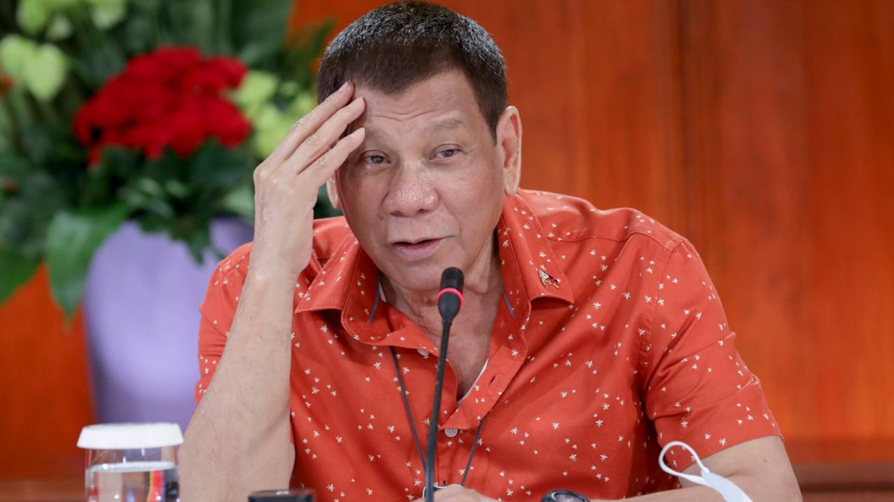 n this photo provided by the Malacanang Presidential Photographers Division, Philippine President Rodrigo Duterte attends a meeting at the Malacanang presidential palace in Manila, Philippines on Monday October 19, 2020.  (Robinson Ninal Jr./Malacanang Presidential Photographers Division via AP)