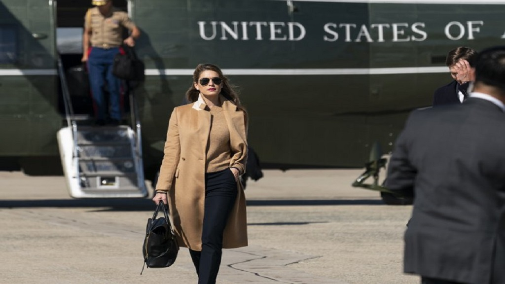 Counsellor to the President, Hope Hicks, walks from Marine One to accompany President Donald Trump aboard Air Force One as he departed Wednesday, September 30, 2020, at Andrews Air Force Base, Md. (AP Photo/Alex Brandon)