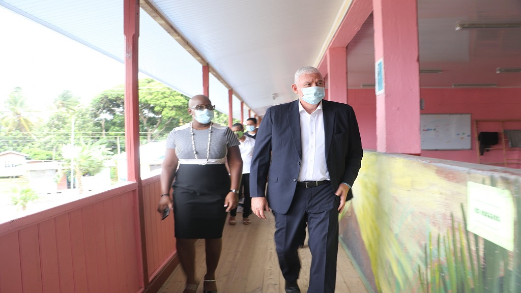 Education Minister Gale Rigobert and Prime Minister Allen Chastanet visisted schools together ahead of reopening last Friday