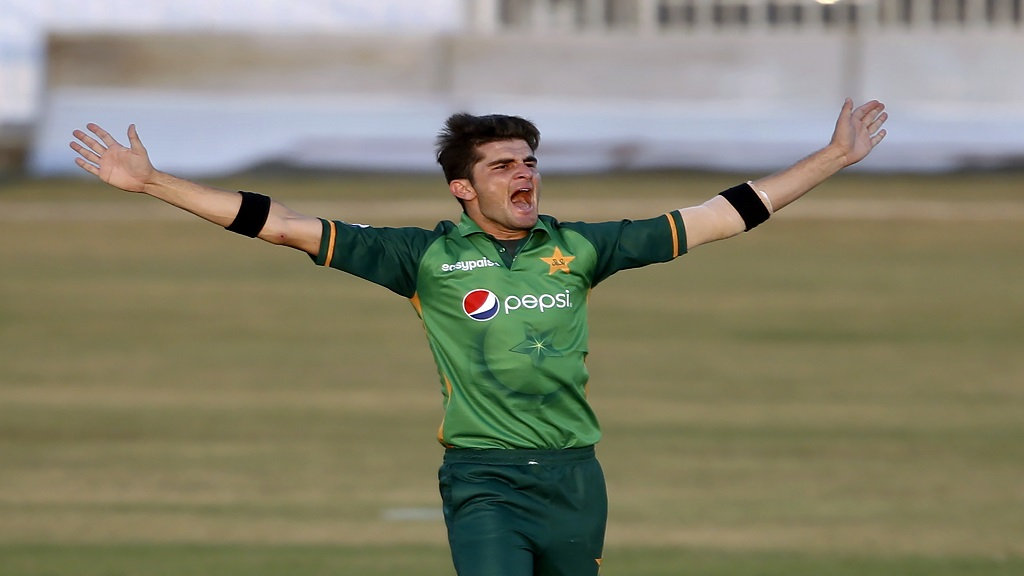 Pakistani pacer Shaheen Afridi celebrates after taking the wicket of Zimbabwe's batsman Chamu Chibhabha during the first One-Day International cricket match at the Pindi Cricket Stadium, in Rawalpindi, Pakistan, Friday, Oct. 30, 2020. (AP Photo/Anjum Naveed).