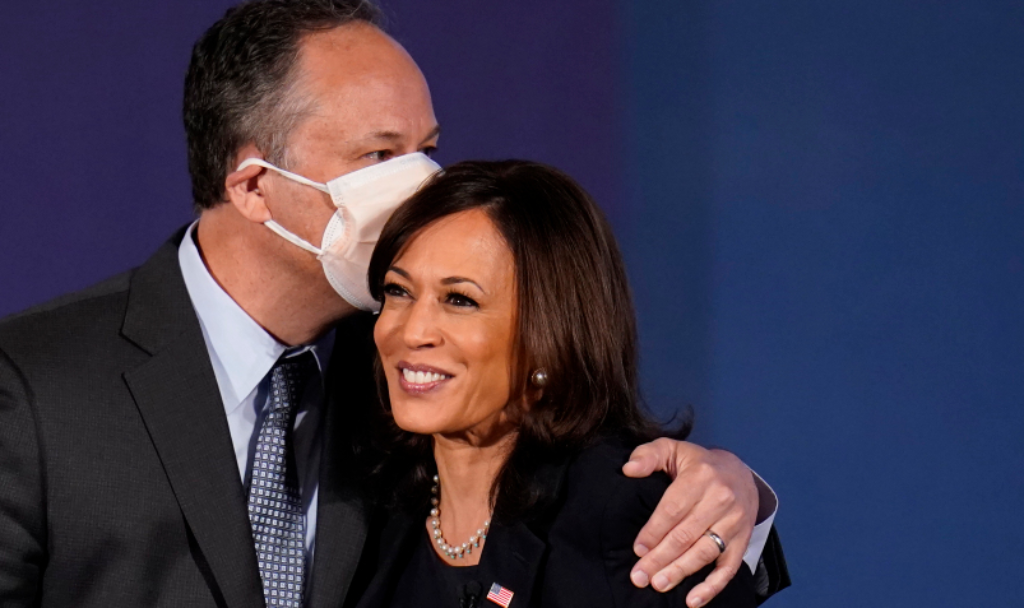 Douglas Emhoff embracing his wife, Vice President-elect Kamala Harris (AP)