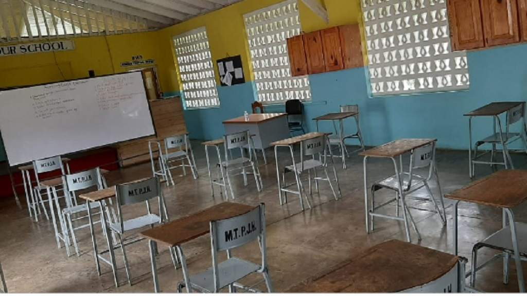 Spaced-out seating at Moore Town Primary and Junior High School in Portland in preparation for Monday's start of a pilot face-to-face opening of some schools across the country.