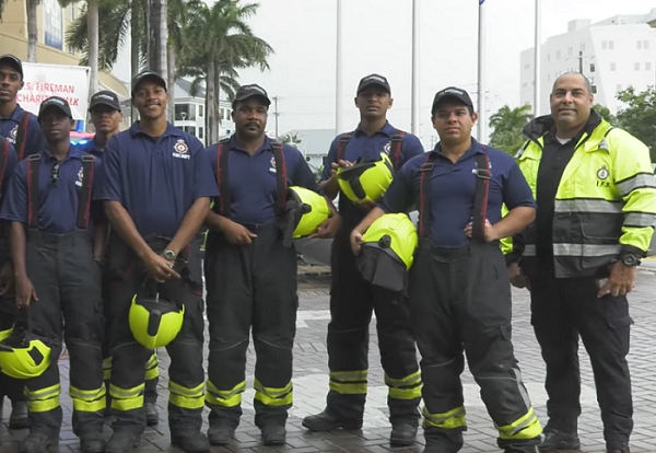 A screengrab of a few of the firefighters who participated in the charity walk.