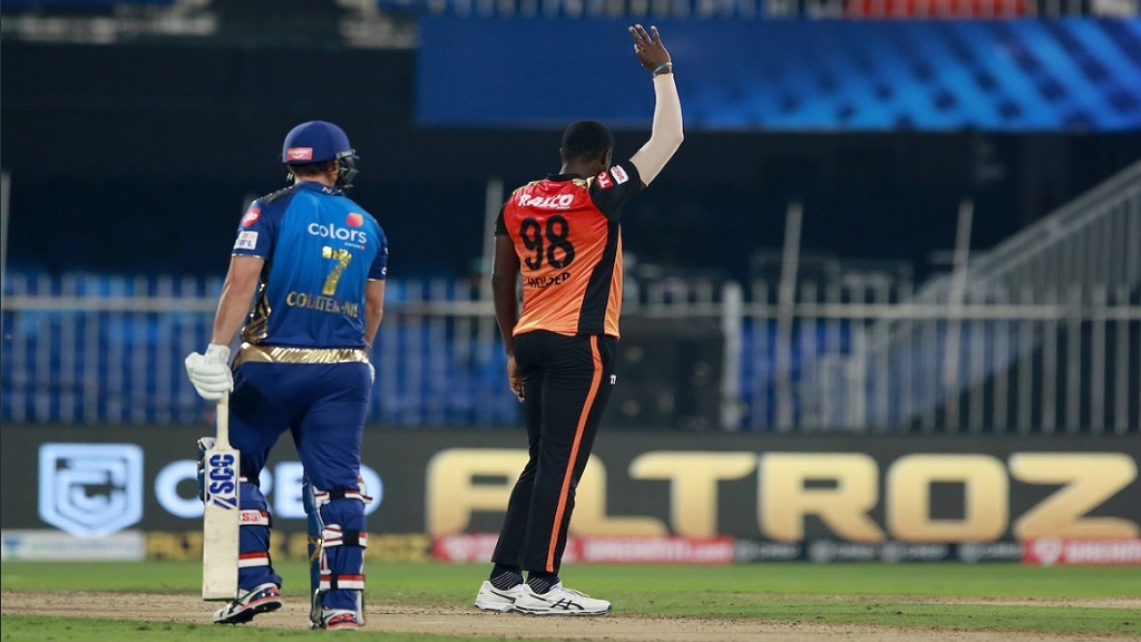 Jason Holder in action for Sunrisers Hyderabad against Mumbai Indians in the Indian Premier League on Tuesday, November 3, 2020 at the at Sharjah Cricket Stadium.