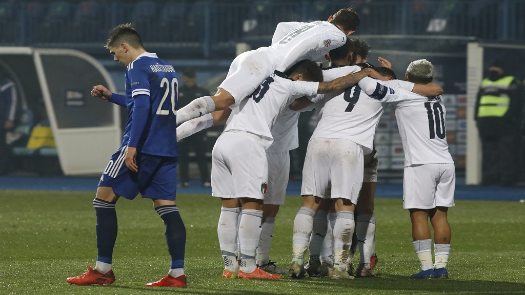 Italy players celebrate after Domenico Berardi scored his side's second goal during a UEFA Nations League football match against Bosnia in Sarajevo, Bosnia, Wednesday, Nov. 18, 2020. (AP Photo/Kemal Softic).