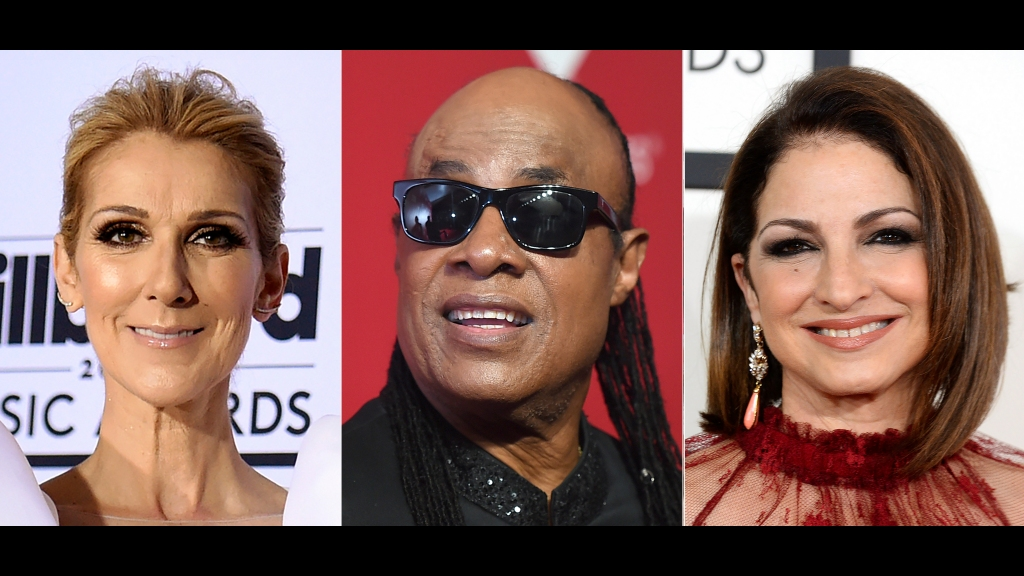 This combination photo shows performers, from left, Celine Dion, Stevie Wonder and Gloria Estefan, who are among the entertainers honoring nurses in a star-studded benefit virtual concert on Thanksgiving. Nurse Heroes Live will stream on the organization's YouTube and Facebook along with LiveXLive on November 26 at 7 pm EST. The benefit will provide money for a variety of programs including scholarships for nurses and their children. (AP Photo)