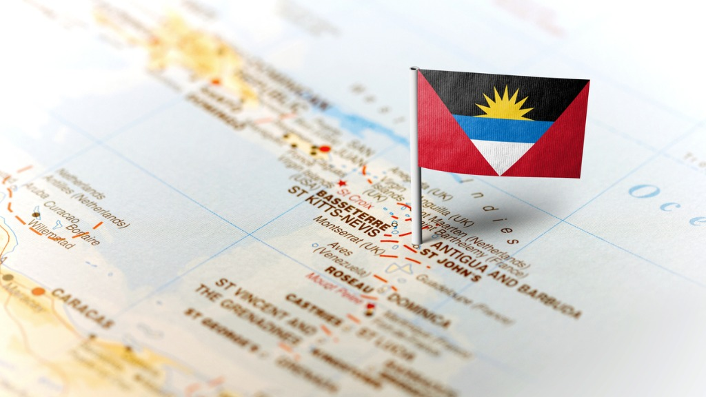 Antigua and Barbuda flag on a map. (FILE)