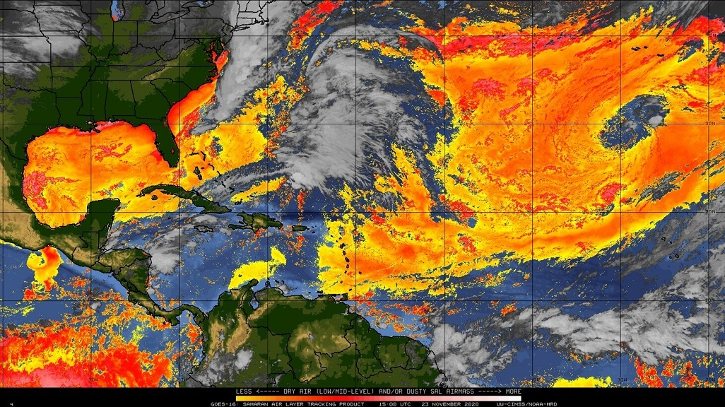 Photo: An image shared by the Trinidad and Tobago Meteorological Service of dry conditions across the region. The Met Office said the image highlights dry regions in general and not only Saharan dust.