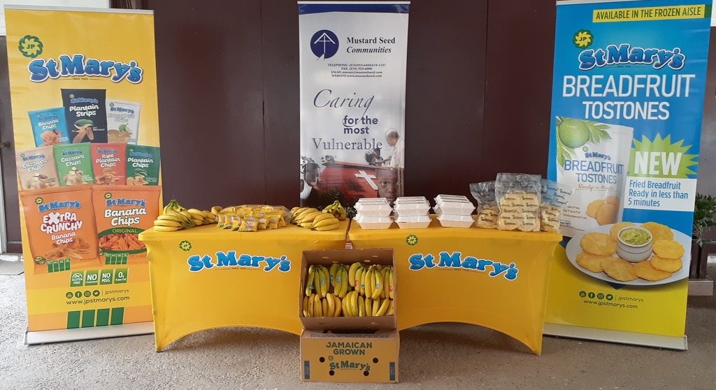 Jamaica Producer's St Mary's-branded products on display during a donation ceremony.