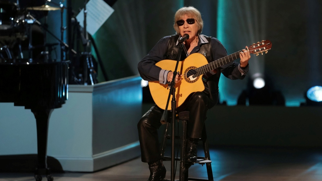 "FILE - Musician Jose Feliciano performs during the Library of Congress Gershwin Prize tribute concert on March 13, 2019, in Washington. Feliciano is celebrating 50 years of his bilingual Christmas classic ""Feliz Navidad"" by releasing a new version featuring Jason Mraz, Lin-Manuel Miranda, Shaggy and more. (Photo by Brent N. Clarke/Invision/AP, File)"