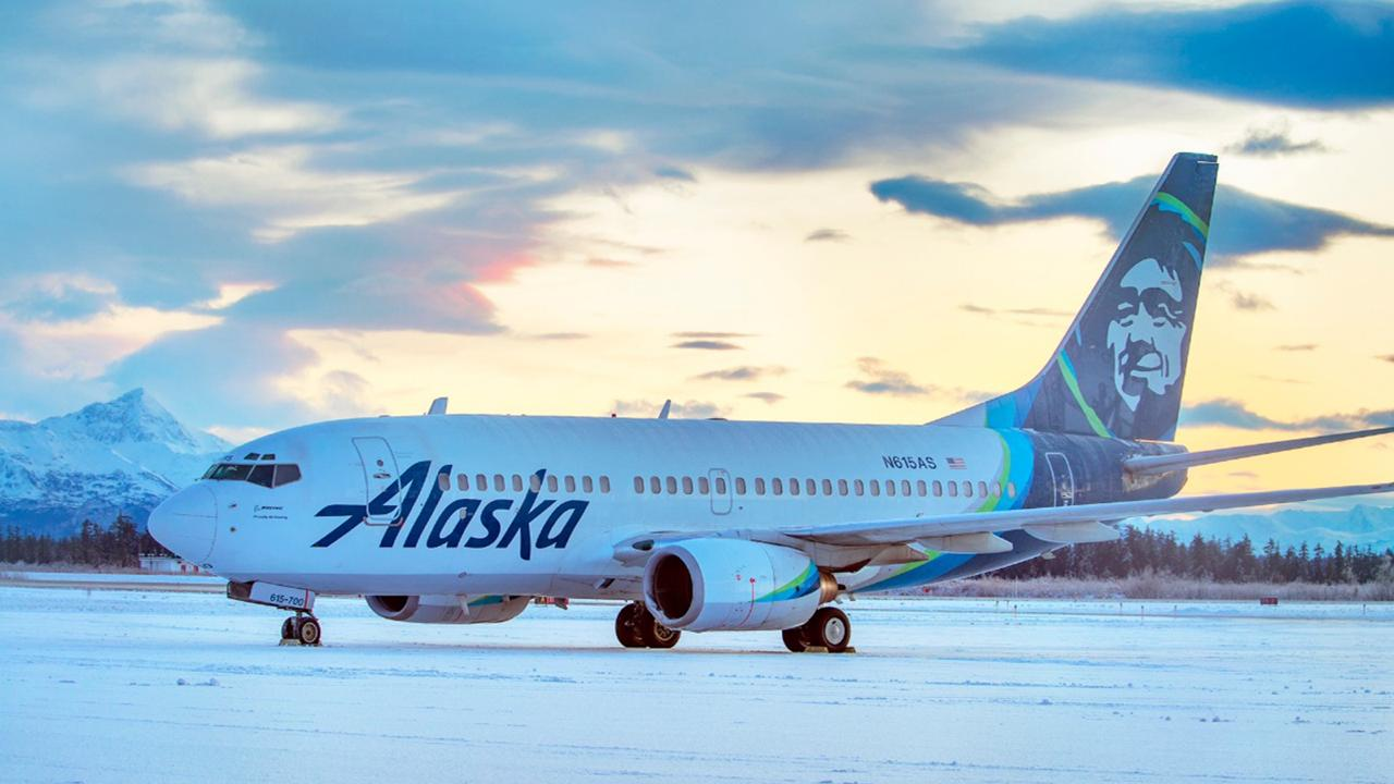 This early Sunday, November 15, 2020, photo provided by R E Johnson shows an Alaska Airlines jet that struck a brown bear while landing in the early evening the day before, killing the animal and causing damage to the plane, at Yakutat Airport in Yakutat, Alaska. The left engine cowling of the jet was damaged.  (R E Johnson via AP)