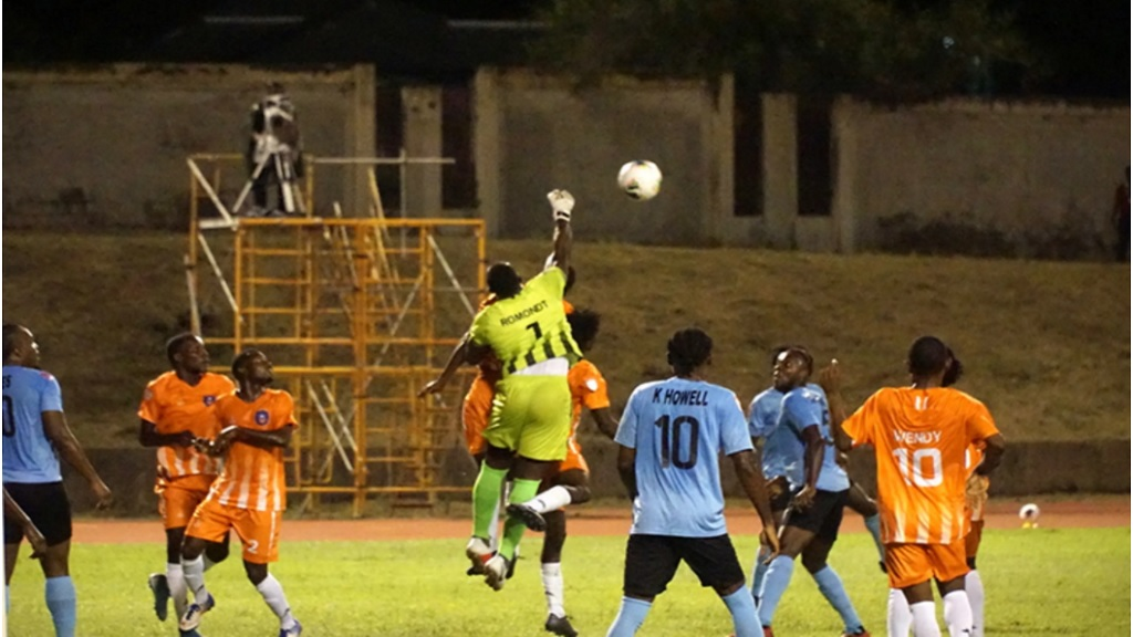 Arcahaie's goalkeeper Guerry Romondt punches a ball back into play during the 2020 Concacaf League Round of 16 match against Waterhouse at the Stadium East field on November 5 2020. (PHOTO: Concacaf.com).