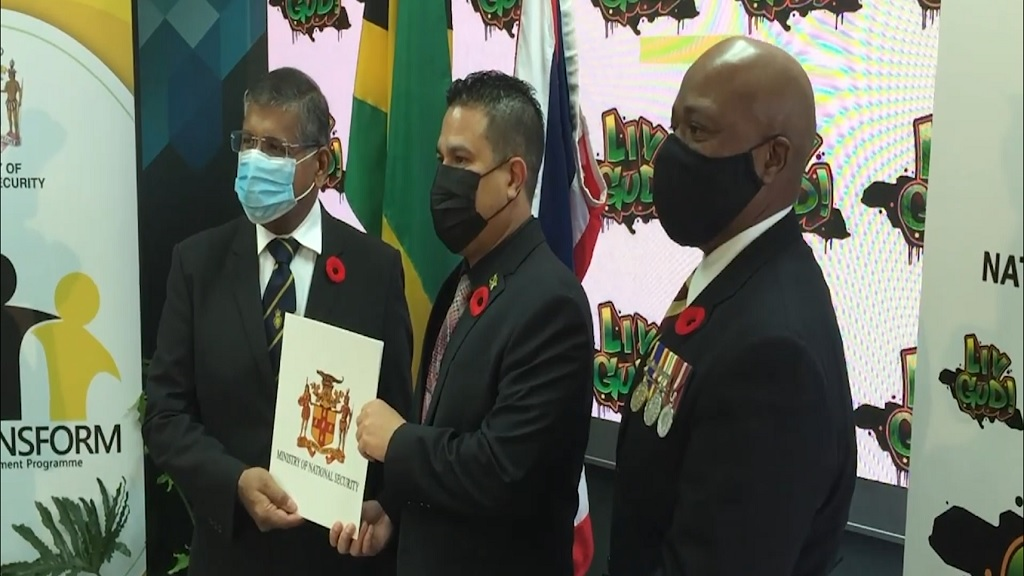 From left to right:  , British High Commissioner to Jamaica, Asif Ahmad,  Minister without Portfolio in the Ministry of National Security, Senator Matthew Samuda and Lieutenant Colonel (Retired) Gary Rowe, Commissioner of Corrections.