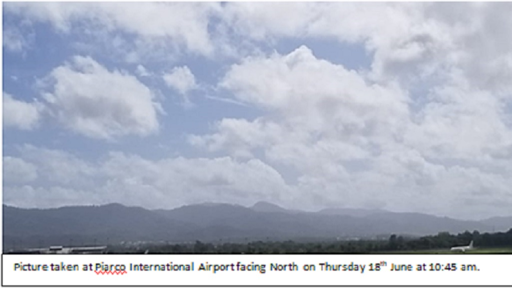 Photo: Saharan dust visible on  June 18, 2020. Photo: Trinidad and Tobago Meteorological Service.