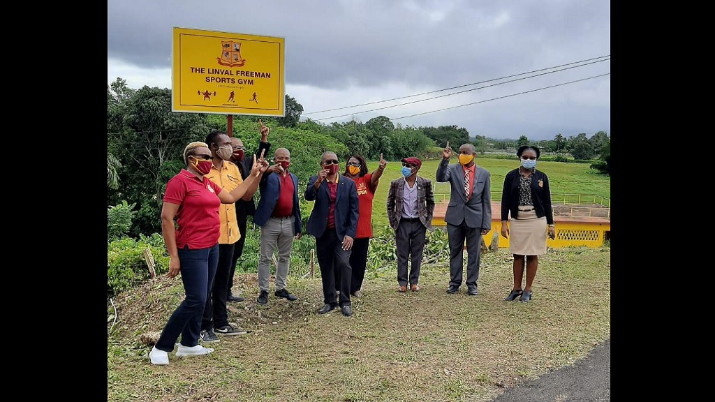 (From left) Sharlene Gayle-Blake, Head, Physical Education Department at Dinthill; Noel Johnson, Joseph Small, Donovan Betancourt, Linval Freeman and Veronica Graham of the Dinthill Past Students Assocation; Dennis Clarke, Chairman, School Board; Christopher Patterson, Acting Principal of the school  and Olivio McKenzie, Principal's secretary.