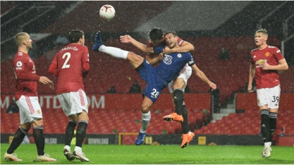 Harry Maguire's challenge on Cesar Azpilicueta went unpunished as Chelsea drew 0-0 with Manchester United at the Old Trafford stadium in Manchester, England, Saturday, Oct. 24, 2020.