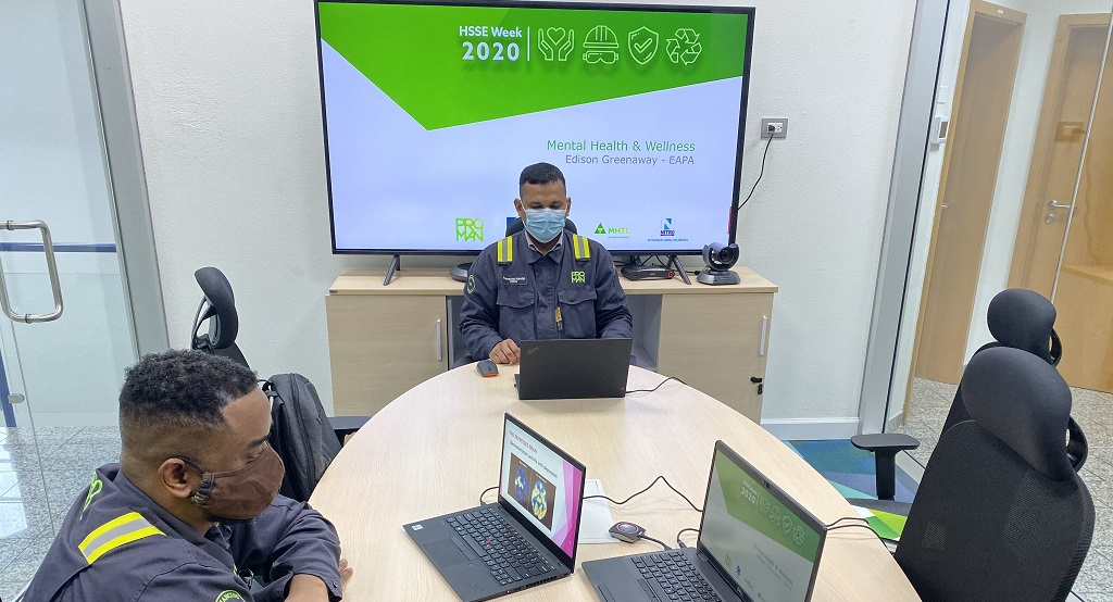 Representatives from the Proman team coordinate virtual HSSE week activities at the company's Headquarters at the Point Lisas Industrial Estate.