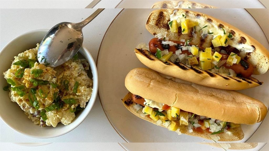 Chef Compton's Caribbean hot dogs with a Creole potato salad. (Photos: via Today.com)