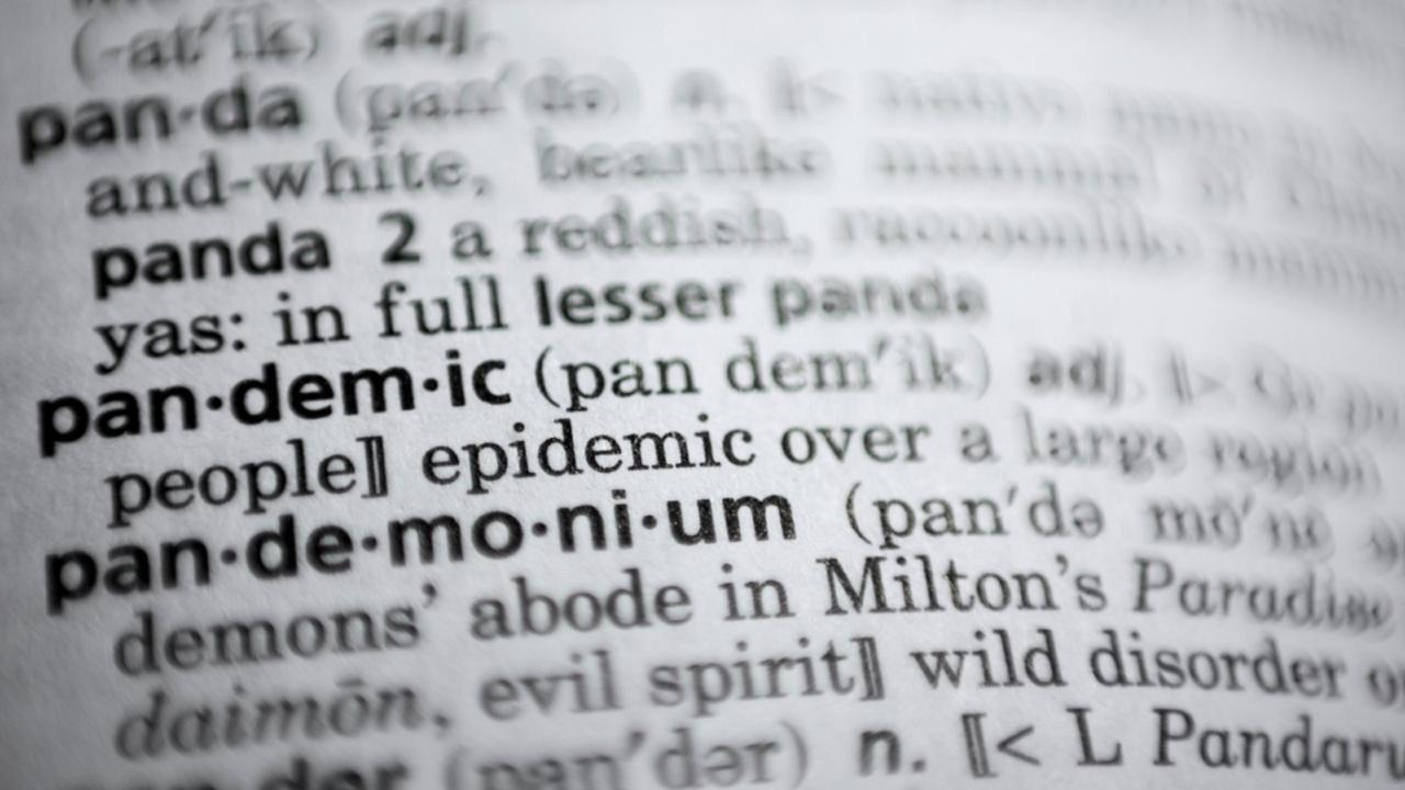 "In this Saturday, November 21, 2020, photo the word pandemic is displayed in a dictionary in Washington. Merriam-Webster on Monday announced ""pandemic"" as its 2020 word of the year. (AP Photo/Jenny Kane)"