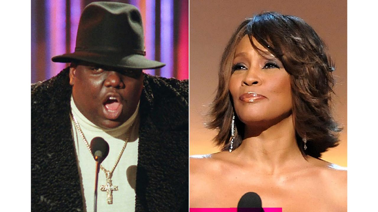 This combination photo shows Notorious B.I.G., who won rap artist and rap single of the year, during the annual Billboard Music Awards in New York on December 6, 1995, left, and singer Whitney Houston at the BET Honors in Washington on January 17, 2009. Houston and the Notorious B.I.G. are among the inductees to the Rock and Roll Hall of Fame's 2020 class. (AP Photo)