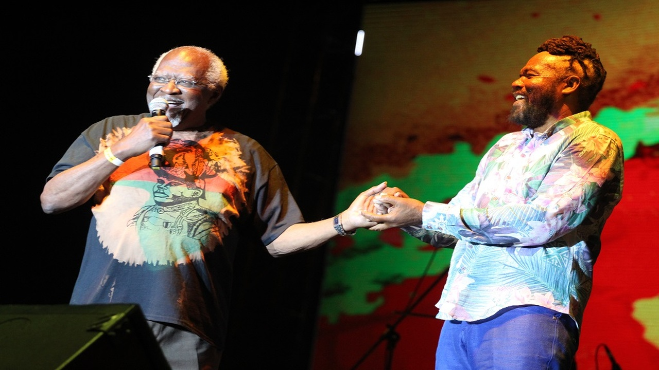 In this file photo, Dr Julius Garvey (left), the son of National Hero Marcus Garvey, appears on stage at the annual Rebel Salute reggae festival. Rebel Salute promoter Tony Rebel shares in the occasion.