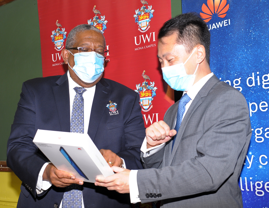 (From left) Pro Vice-Chancellor and Principal of The UWI Mona Campus, Professor Dale Webber and Andy Deng, Country Manager of Huawei Technologies Jamaica Company Limited pictured at the handing over ceremony on Friday, November 6, 2020.