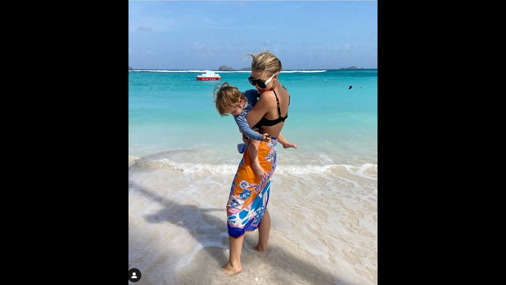 Model Vogue Williams in St Barts with her son Theodore. Photo courtesy Williams' Instagram page.