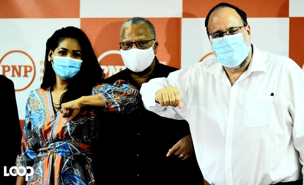 Left to right: Lisa Hanna, Dr Peter Phillips and Mark Golding.