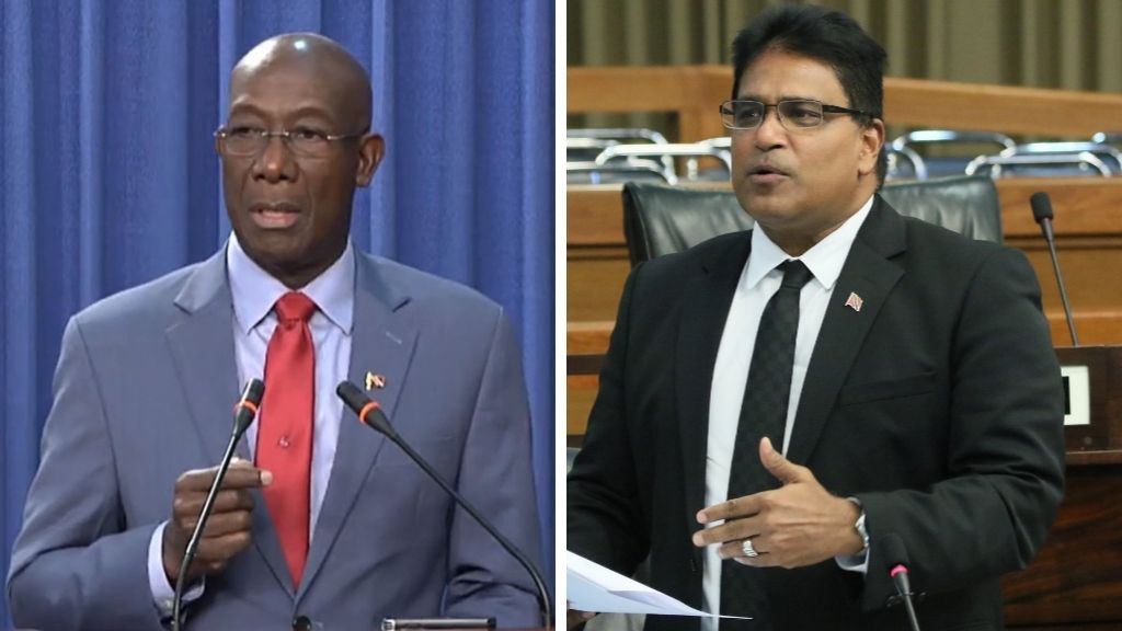Photo: Prime Minister Dr Keith Rowley (left), Opposition MP Dr Roodal Moonilal (right).