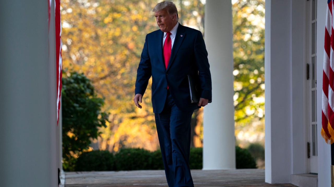 President Donald Trump arrives to speak in the Rose Garden of the White House, Friday, November 13, 2020, in Washington. (AP Photo/Evan Vucci)