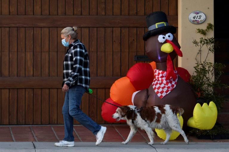 Un piéton promène son chien à Manhattan Beach (Californie), le 21 novembre 2020 afp.com - Patrick T. Fallon