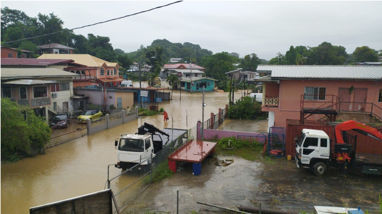 Macaulay Junction was flooded after torrential rains in south Trinidad.