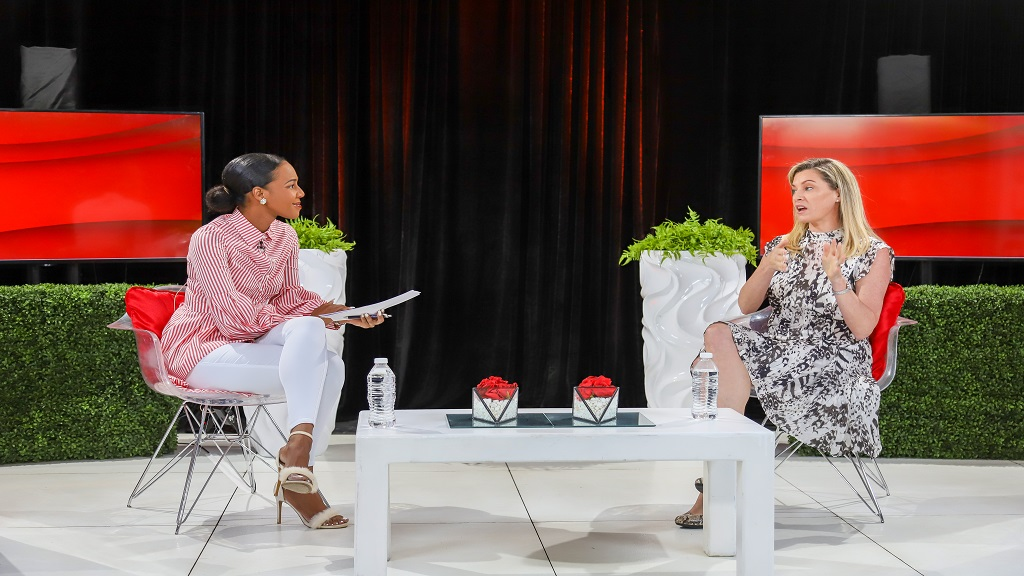 Chief Digital Officer for Digicel Group, Aileen Corrigan (right) responds to questions posed by Terri-Karelle Reid, host the Digicel Business Masterclass series.