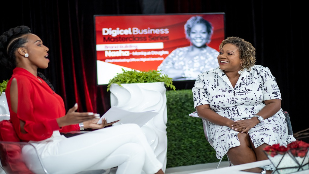 Nasha-Monique Douglas (right), Chief Marketing Officer for Digicel, with Masterclass host host, DrTerri-Karelle Reid.