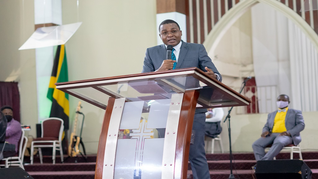 Minister of State in the Ministry of Education, Youth and Information, Robert Nesta Morgan, addressing the launch of Youth Month 2020 at the Emmanuel Apostolic Church in Kingston on November  1. (Photo: JIS)