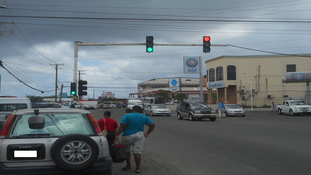The recently installed traffic lights at the junction of Clarke Street and the Vieux-Fort/ Laborie Highway.