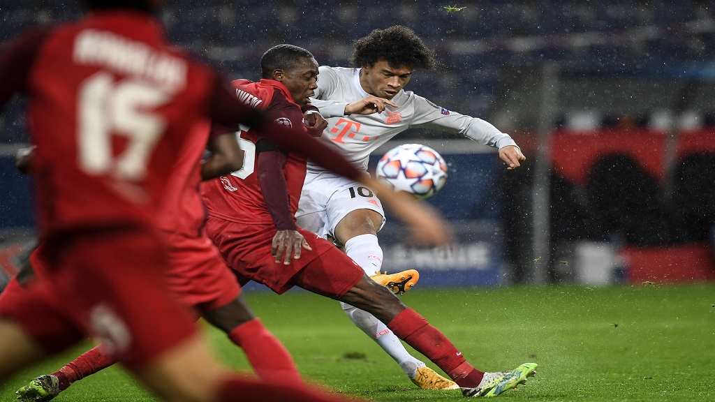 Bayern's Leroy Sane scores his side's fourth goal during the Champions League group A football match against Salzburg in Salzburg, Austria, Tuesday, Nov. 3, 2020. (AP Photo/Andreas Schaad).