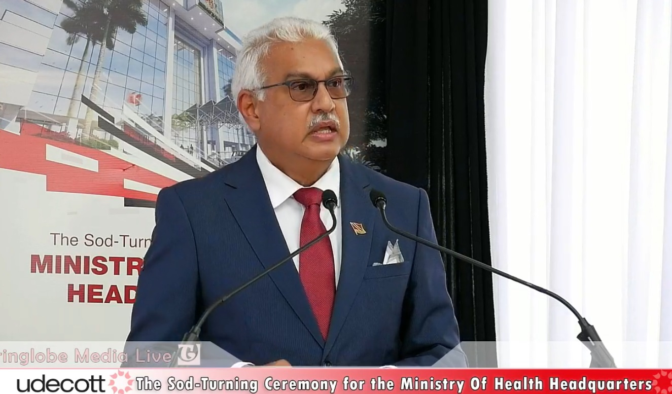 Photo: Health Minister Terrence Deyalsingh speaks at the sod turning for the new Ministry of Health headquarters.