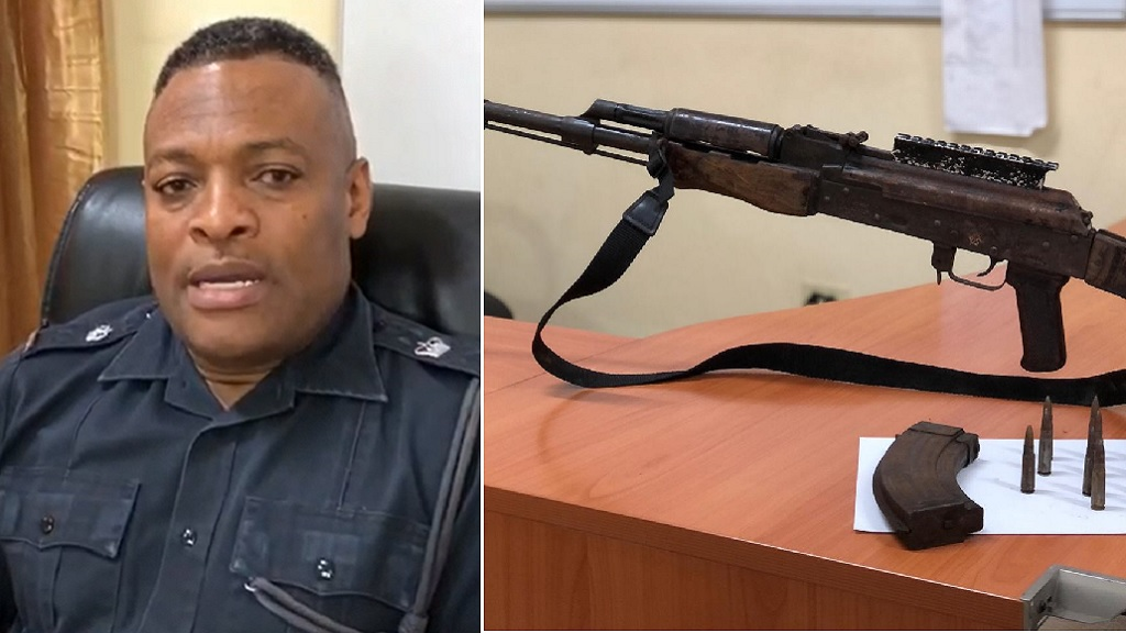 Combination of photos showing Superintendent Leighton Gray, Commanding Officer in charge of Kingston West, and the RPK assault rifle that was seized in Tivoli Gardens on Tuesday.