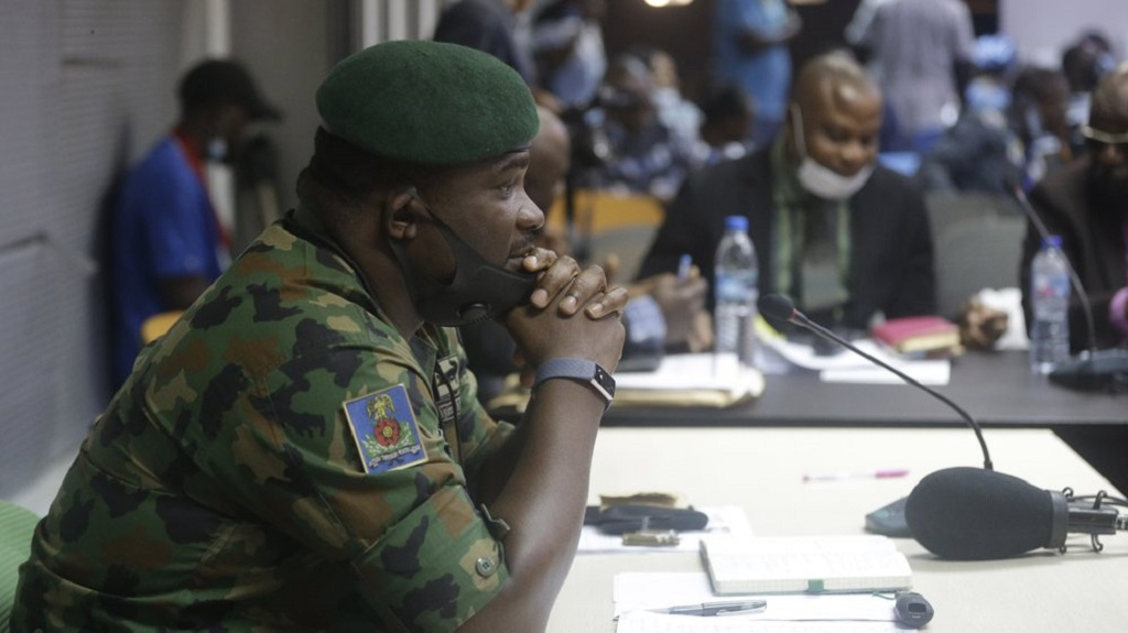 In this photo taken on Saturday Nov. 14, 2020. Brig. Gen. Ahmed Taiwo, Commander of the 81 Military Intelligence Brigade, pauses as he speaks to a judicial committee, in Lagos Nigeria. Nigeria's army has said after weeks of denial that its troop did fire shots into the air to disperse a large crowd at the Lekki Toll Plaza in Lagos where several peaceful protesters were killed late in October. (AP Photo/Sunday Alamba)