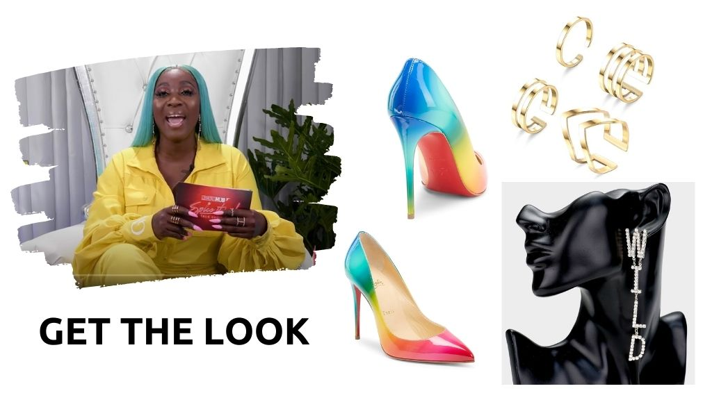 Get the look on Spice's Graci Noir jumpsuit, Christian Louboutin pumps, W-I-L-D earrings, midi rings, and even her seafoam green wig in the credits. (Photos: via Instagram, Saks Fifth Avenue, eBay, and Amazon)