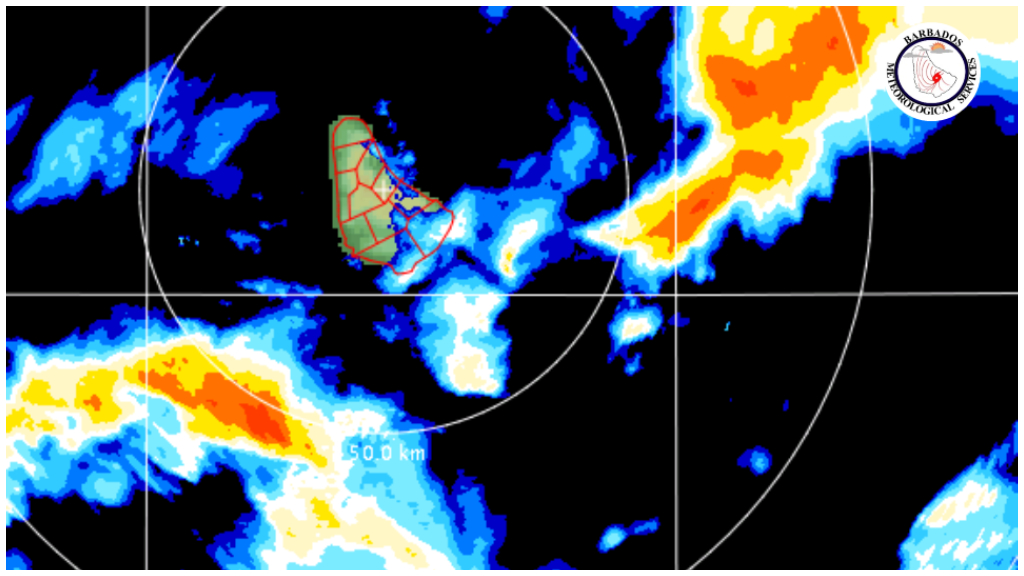 Radar image from the Barbados Met Office