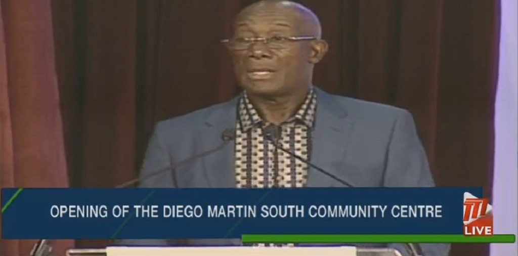 Prime Minister Dr Keith Rowley speaking at opening of Diego Martin South Community Centre