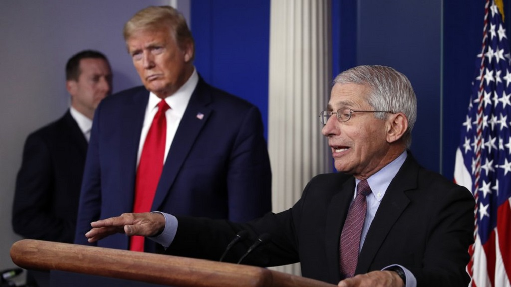 FILE - In this April 22, 2020, file photo, President Donald Trump listens as Dr. Anthony Fauci, director of the National Institute of Allergy and Infectious Diseases, speaks about the coronavirus in the James Brady Press Briefing Room of the White House in Washington. (AP Photo/Alex Brandon, File)