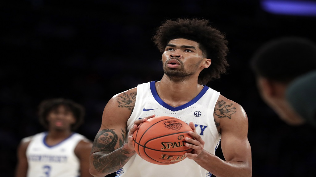In this Tuesday, Nov. 5, 2019 file photo, Kentucky forward Nick Richards (4) during the second half of an NCAA college basketball game against Michigan State in New York. Nick Richards was selected by the The New Orleans Pelicans in the NBA draft, Wednesday, Nov. 18, 2020 (AP Photo/Adam Hunger, File).