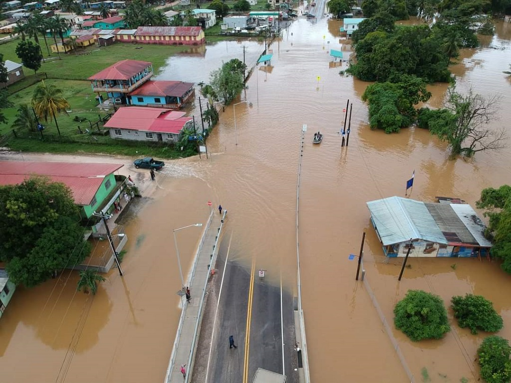 Flooding in parts of Belize caused by the passage of Eta. (Photo via Twitter)