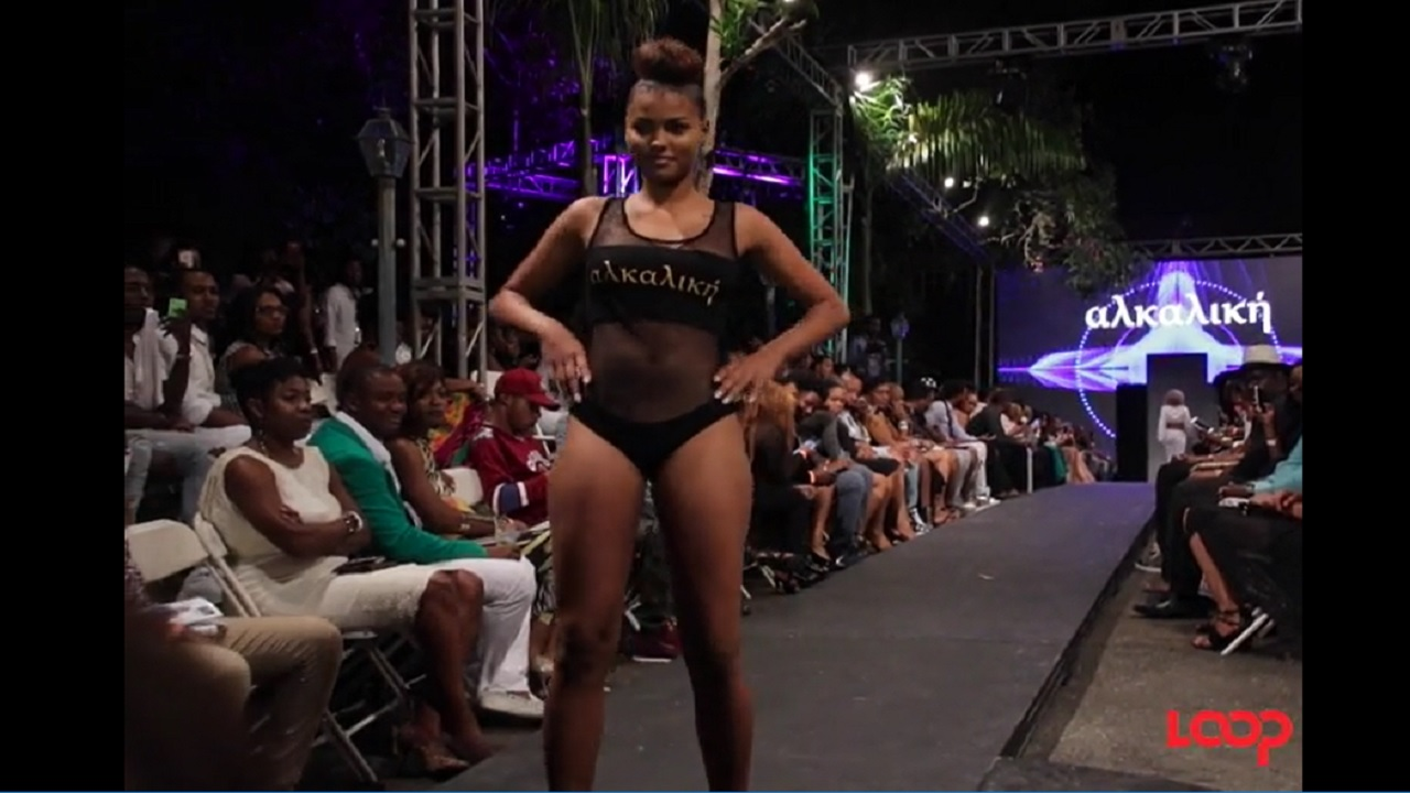A model on the runway at Pulse's Caribbean Fashion Week.