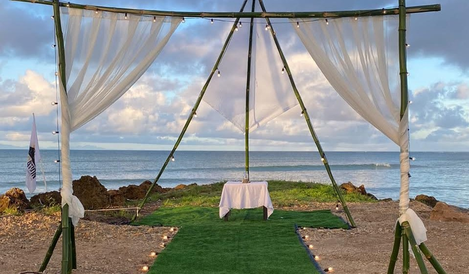 An intimate glamping set-up done by CampNation Tobago.