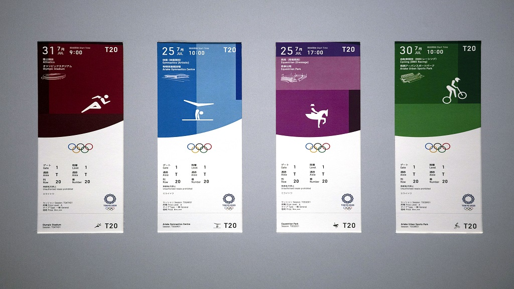 In this January 15, 2020, file photo, tickets for the Tokyo 2020 Olympics are on display. (AP Photo/Jae C. Hong, File).